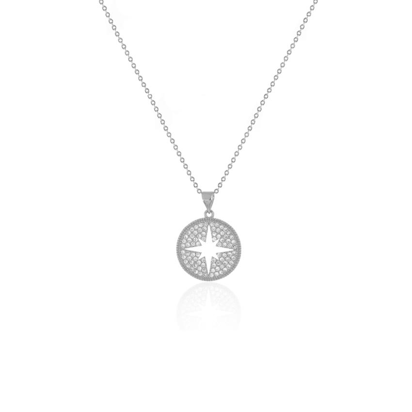 Silver Wonderlust Compass Necklace