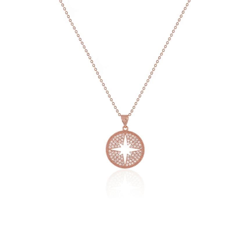 Rose Gold Wonderlust Compass Necklace