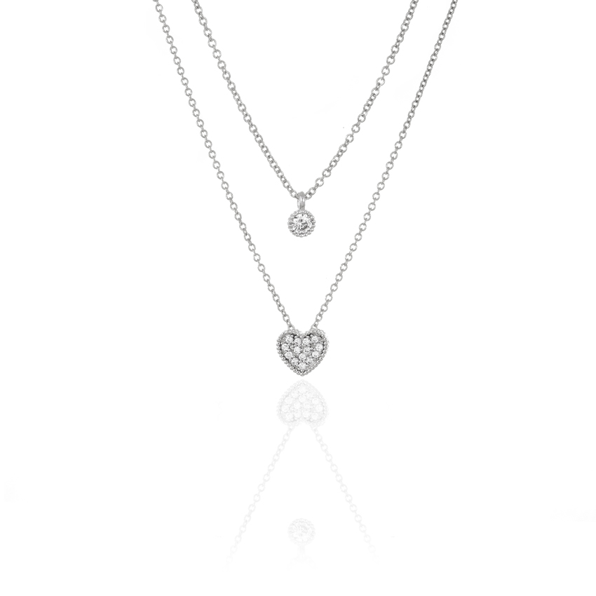 Silver CHARM LOVE DUO CHAIN NECKLACE
