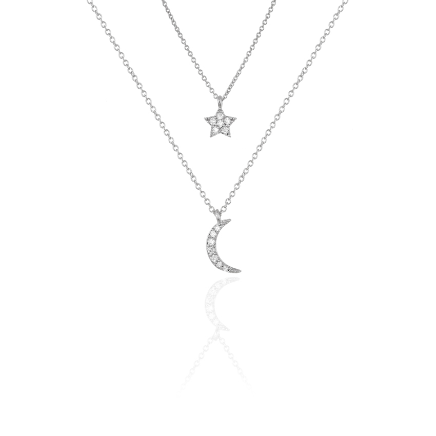 Silver CHARM MOON DUO CHAIN NECKLACE