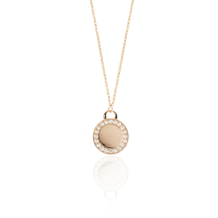 Rose Gold CAMEO DISC NECKLACE