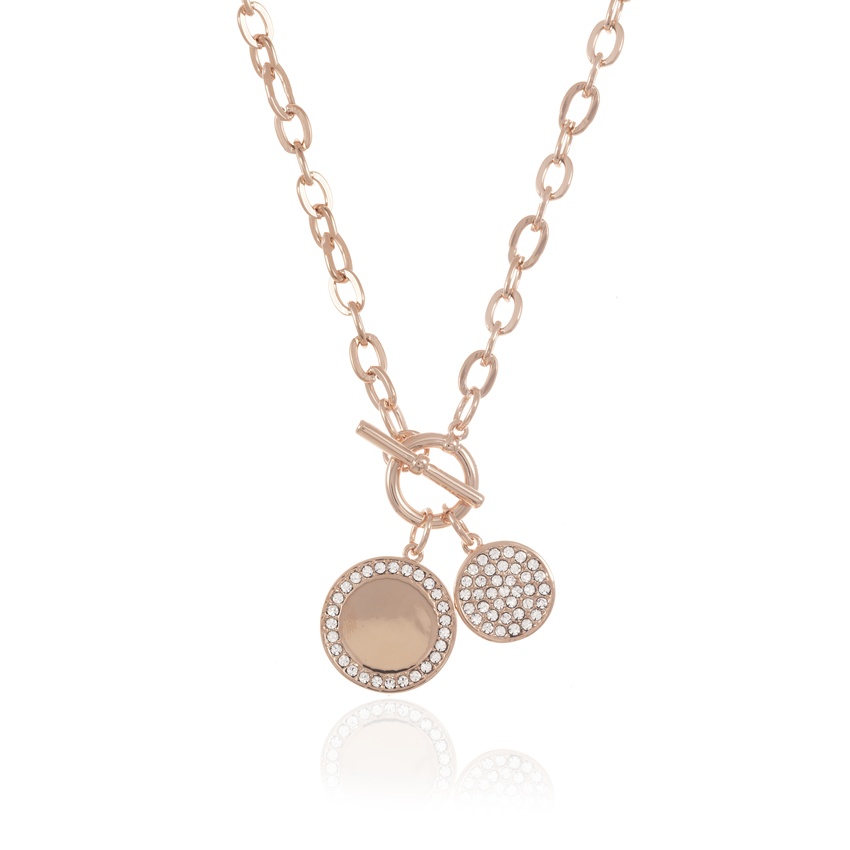 Rose Gold CAMEO DUET DISC NECKLACE