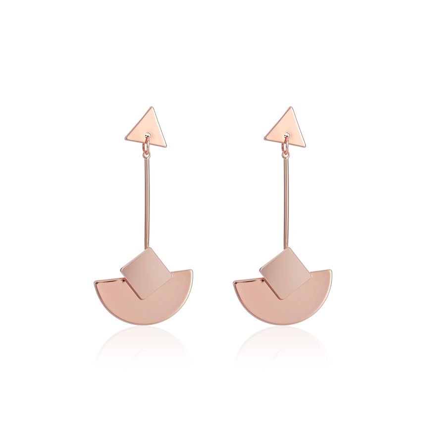 Rose Gold Be Bold Geo Curve Earrings