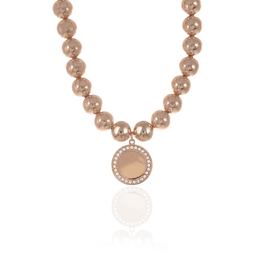 Rose Gold Cameo Statement Disc Necklace