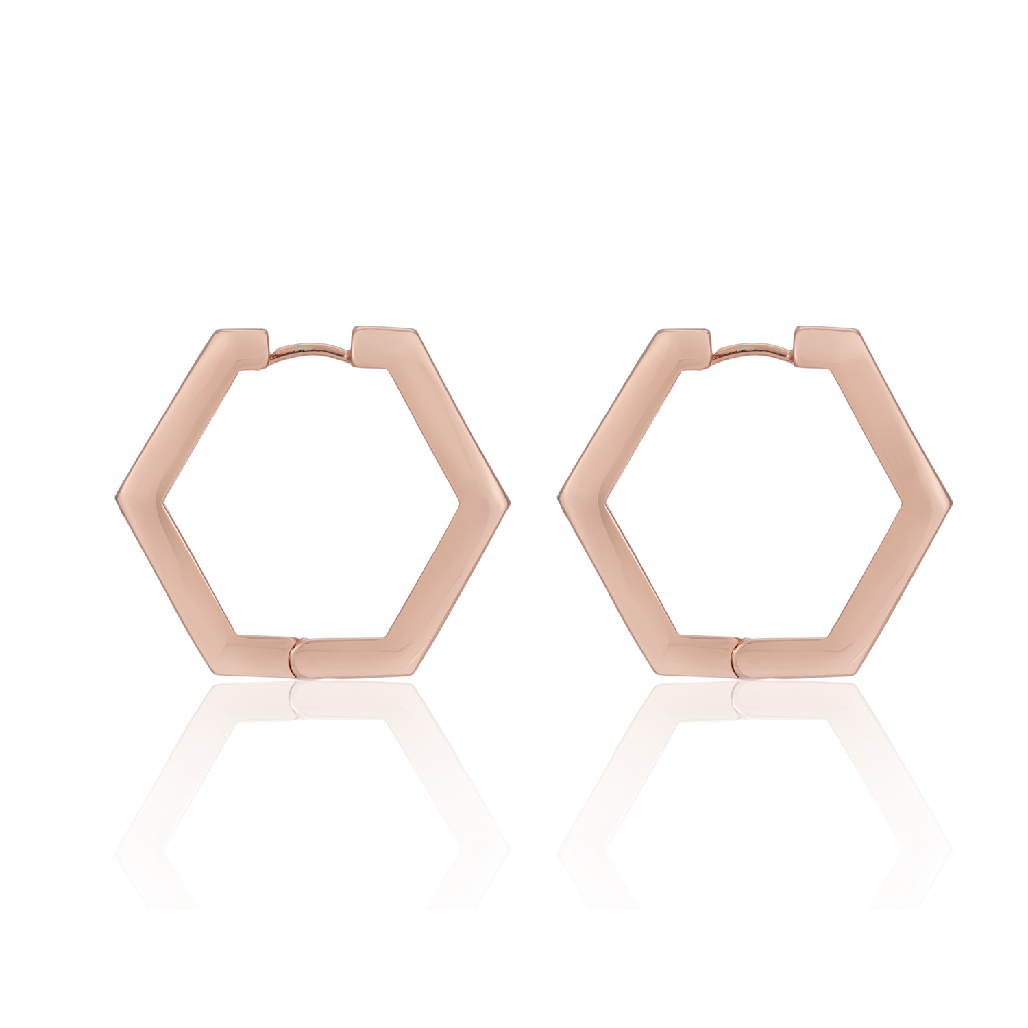 ROSE GOLD BE BOLD HEXAGON HOOPS