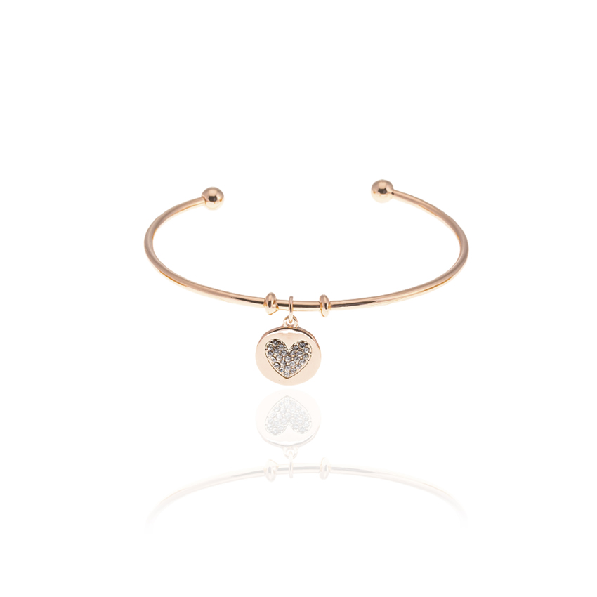 Rose Gold Heart Charm Bangle