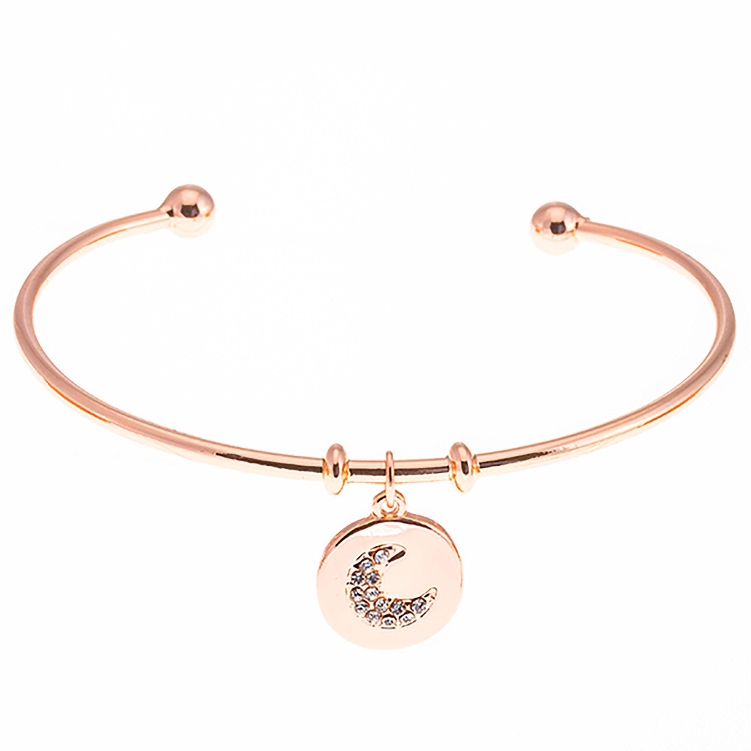 Rose Gold Moon Charm Bangle