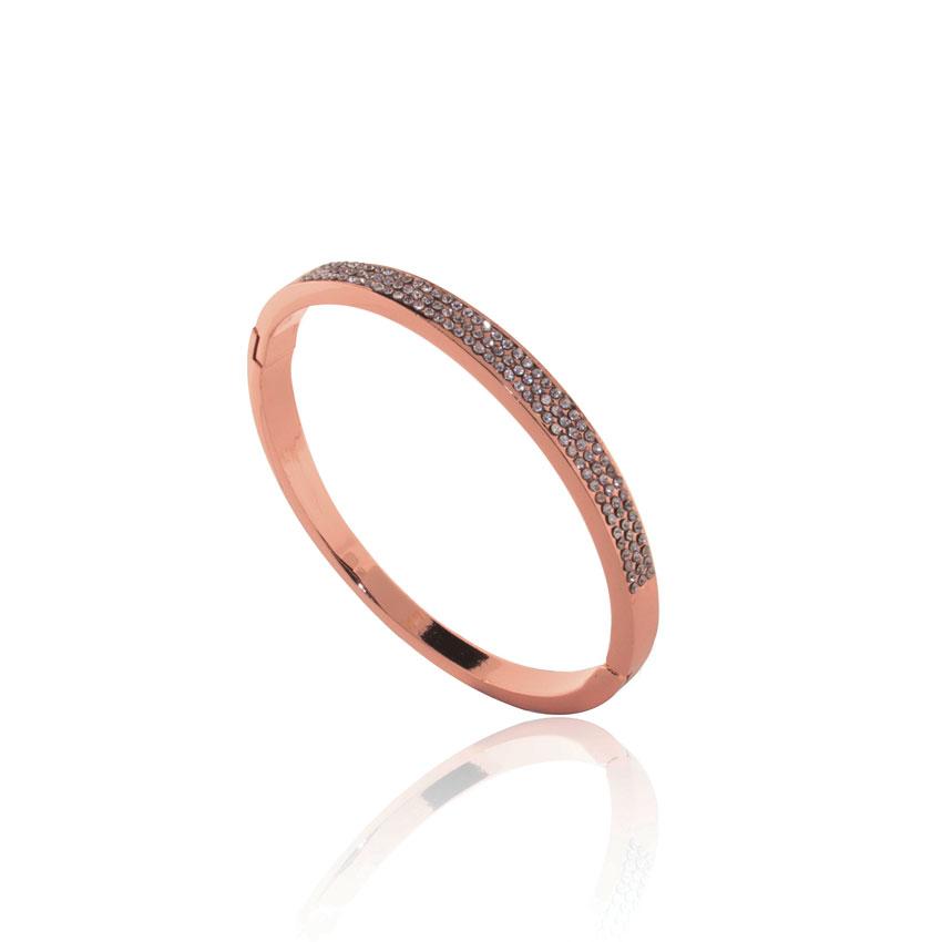 Rose Gold Linear Crystal Bangle