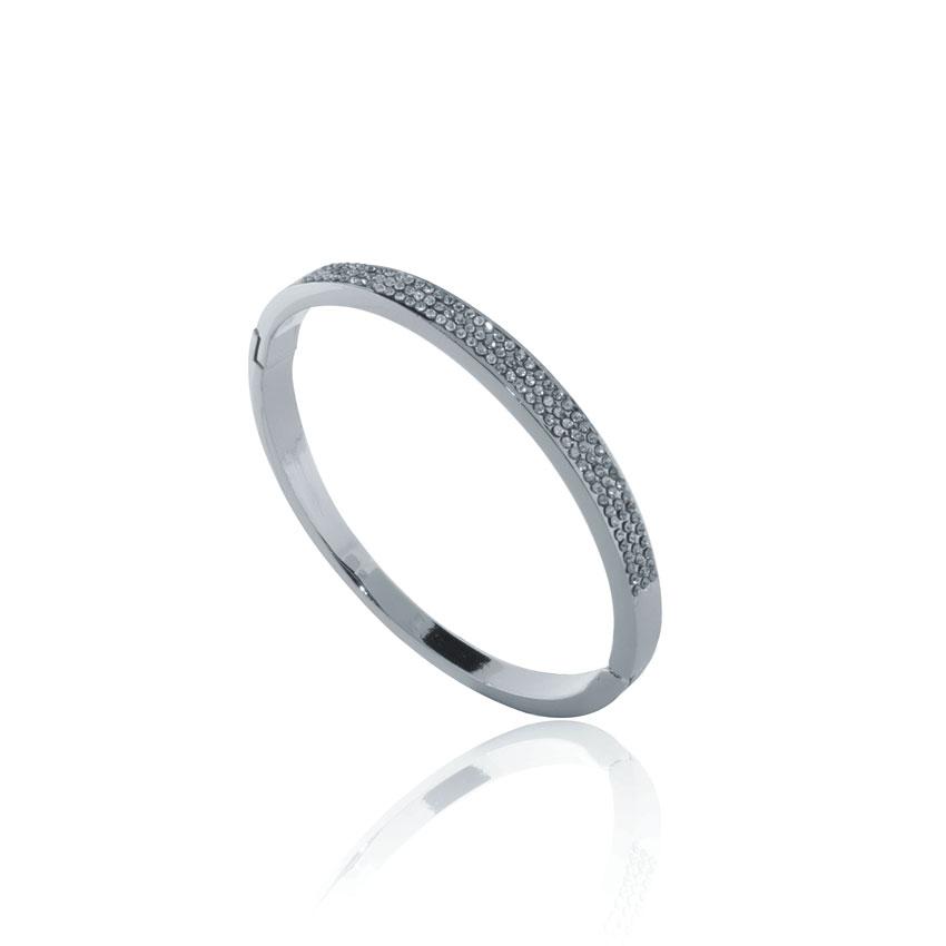 Silver Linear Crystal Bangle