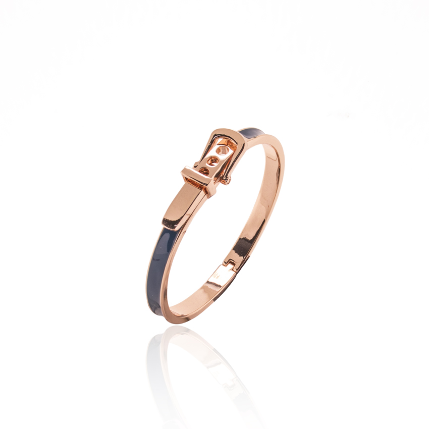 Rose Gold Resort Jade Buckle Bangle