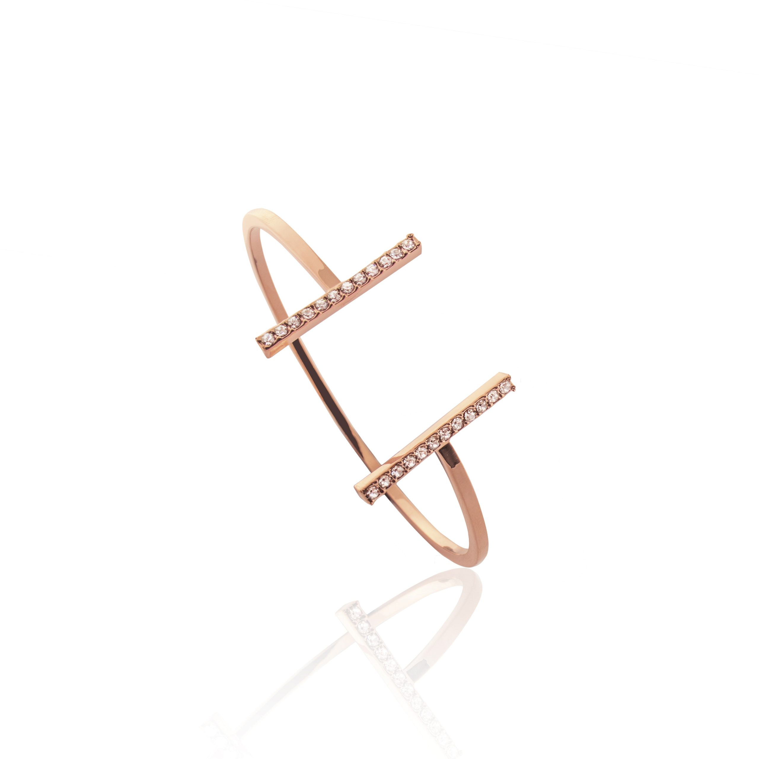 Rose Gold Deco Crystal Bar Bangle