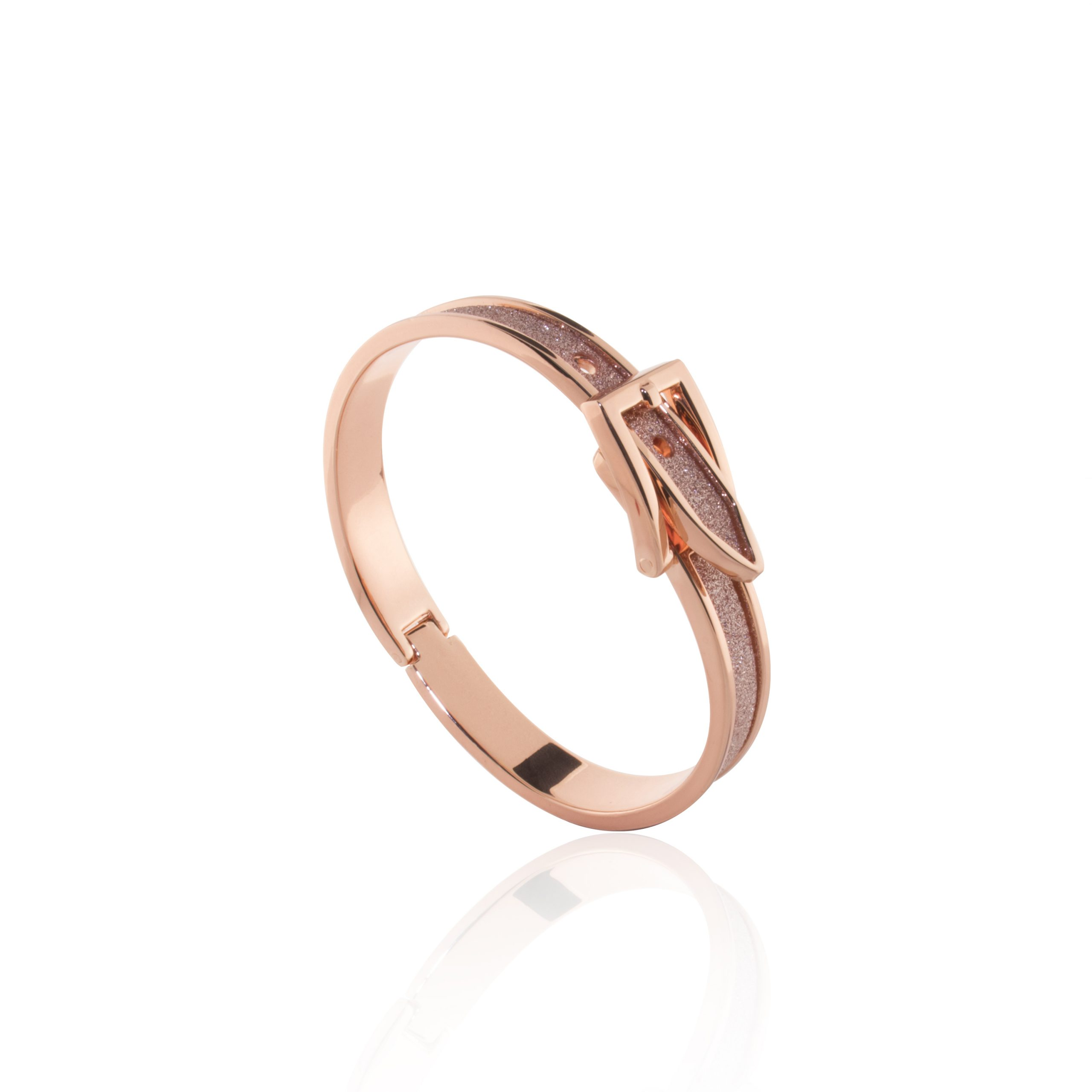 Rose Gold Moondust Rose Shimmer Buckle Bangle