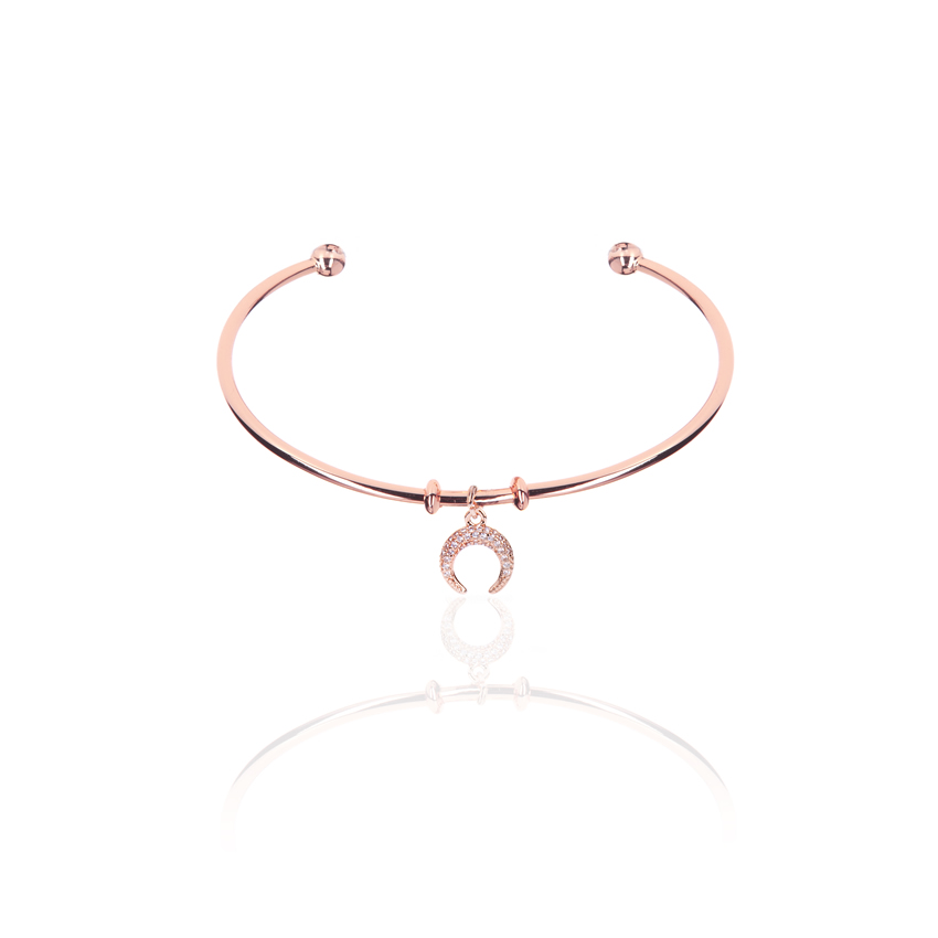 Rose Gold Wonderlust Crystal Horn Bangle