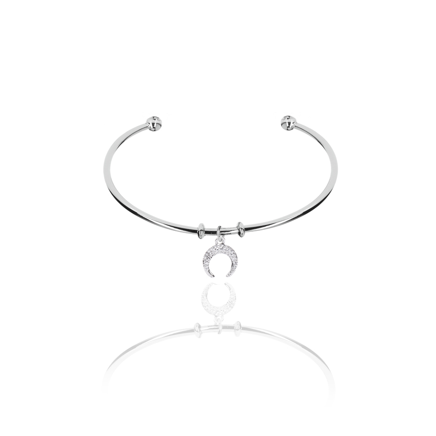 Silver Wonderlust Crystal Horn Bangle