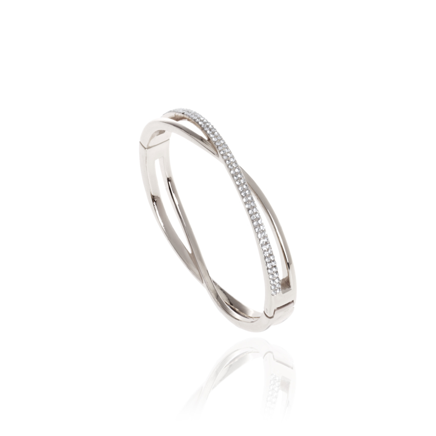Silver Crystal Plait Bangle