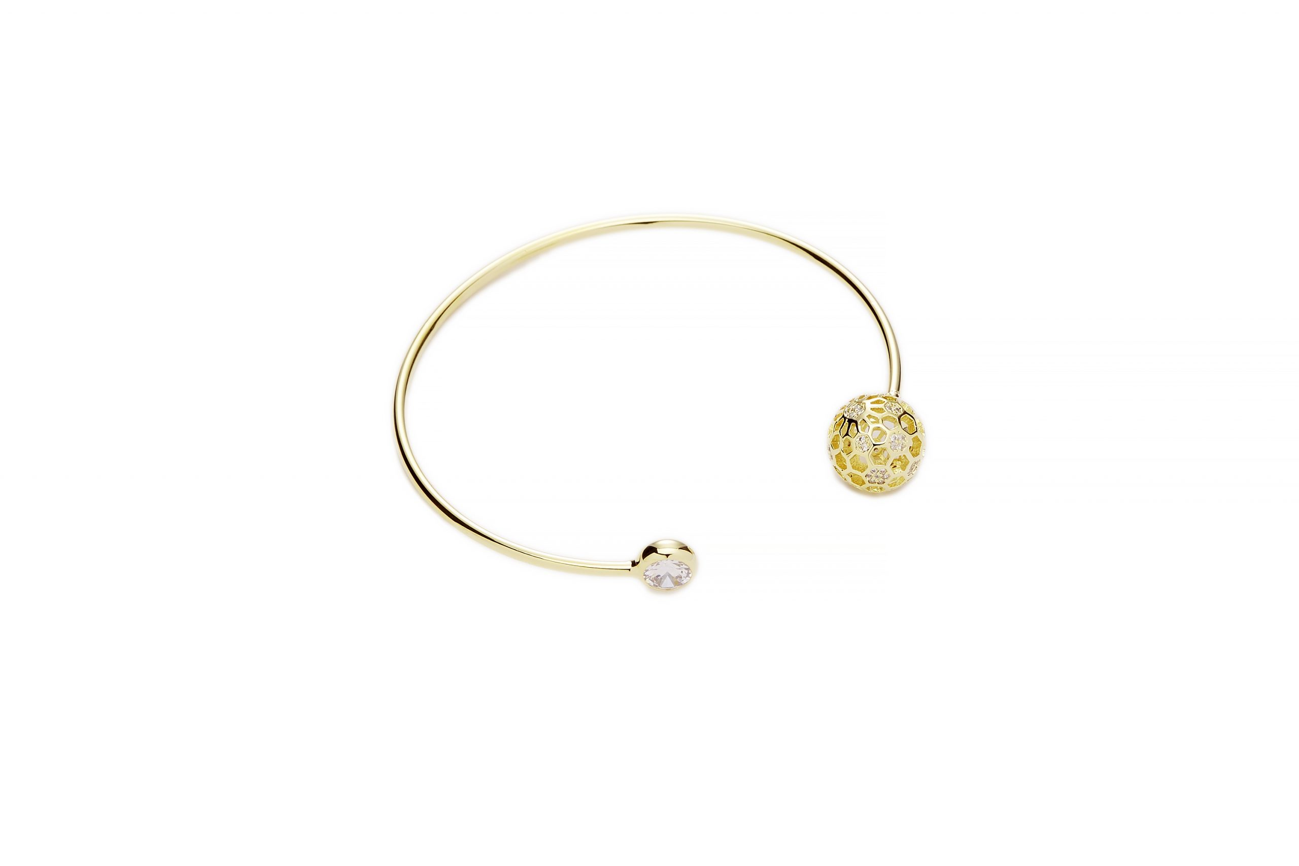 GOLD Honeycomb Crystal Bangle