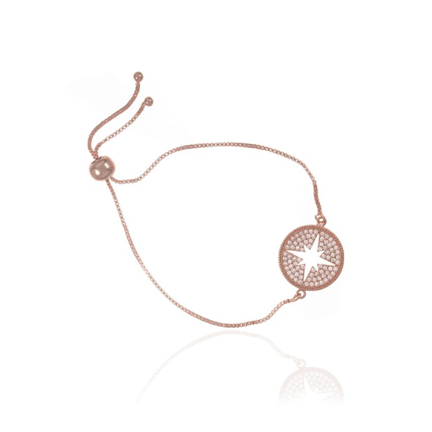 Rose Gold Wonderlust Compass Toggle Bracelet