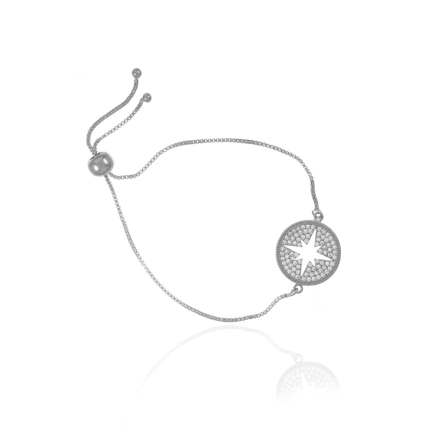 Silver Wonderlust Compass Toggle Bracelet