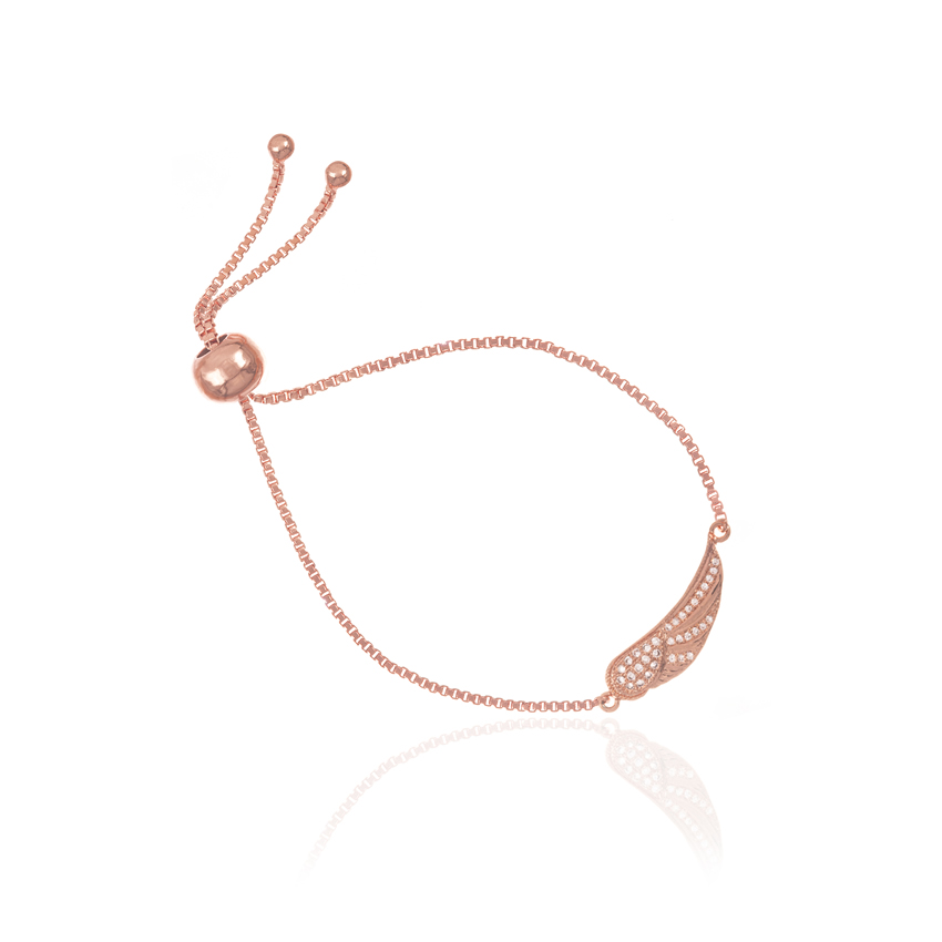 Rose Gold Wonderlust Angel Wing Toggle Bracelet