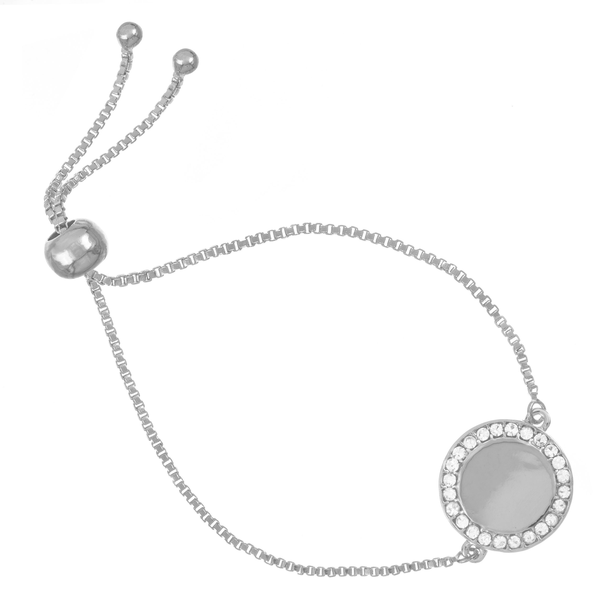 Pave Crystal Silver Disc Toggle Bracelet