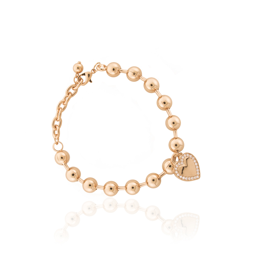 Rose Gold Cameo Statement Heart Bracelet