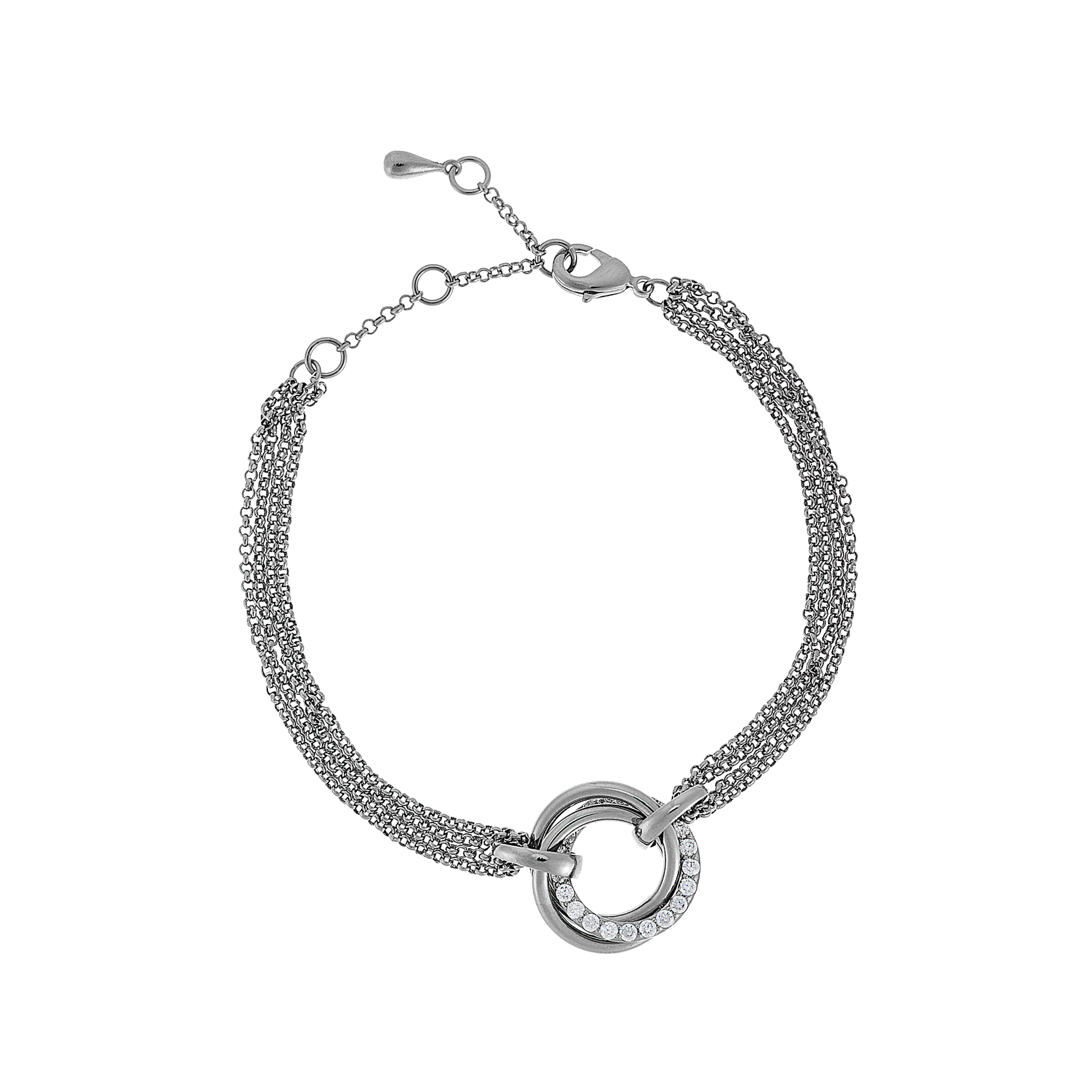 Cameo Silver Circle Twist Bracelet