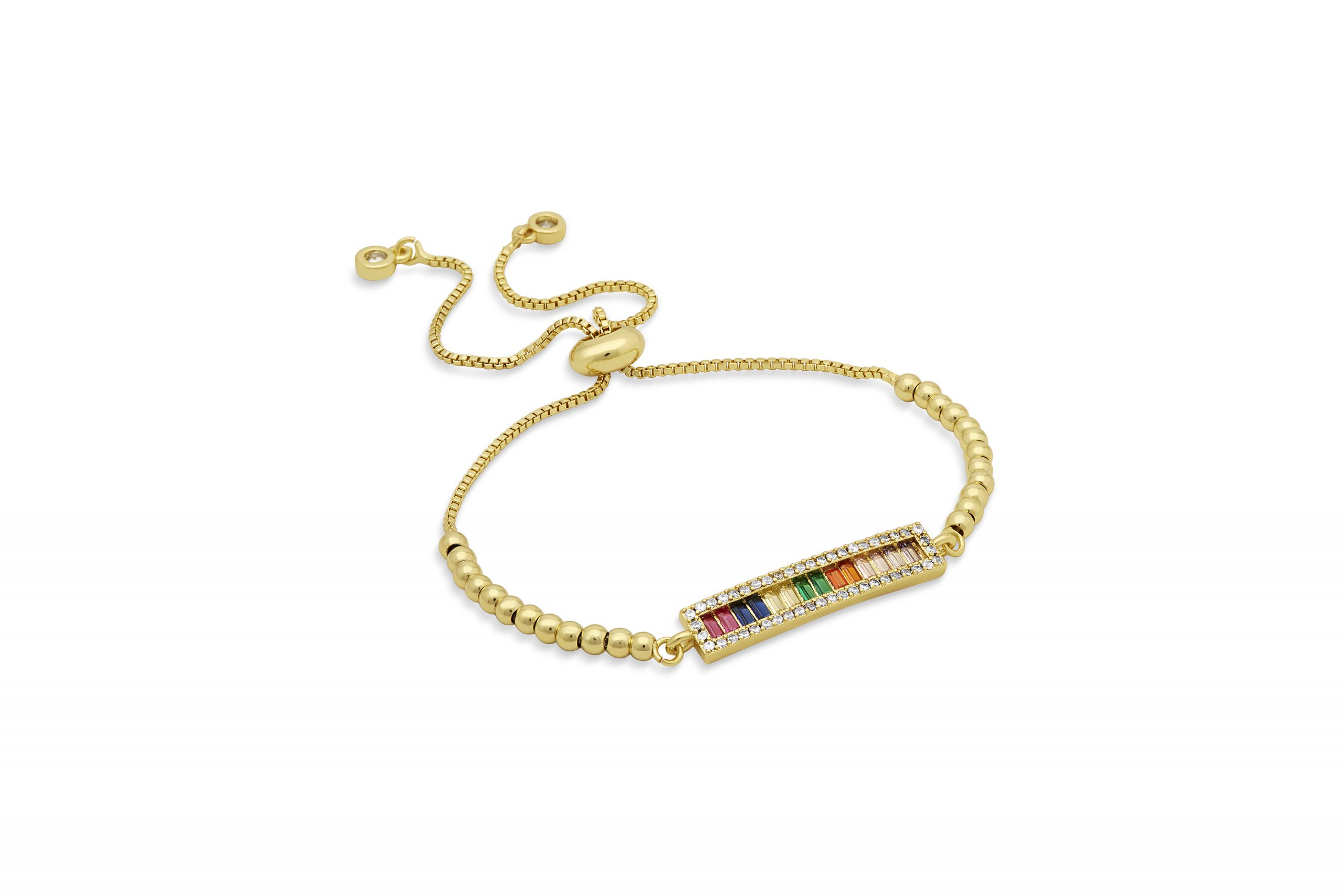 Gold Rainbow Bar Beaded Toggle Bracelet