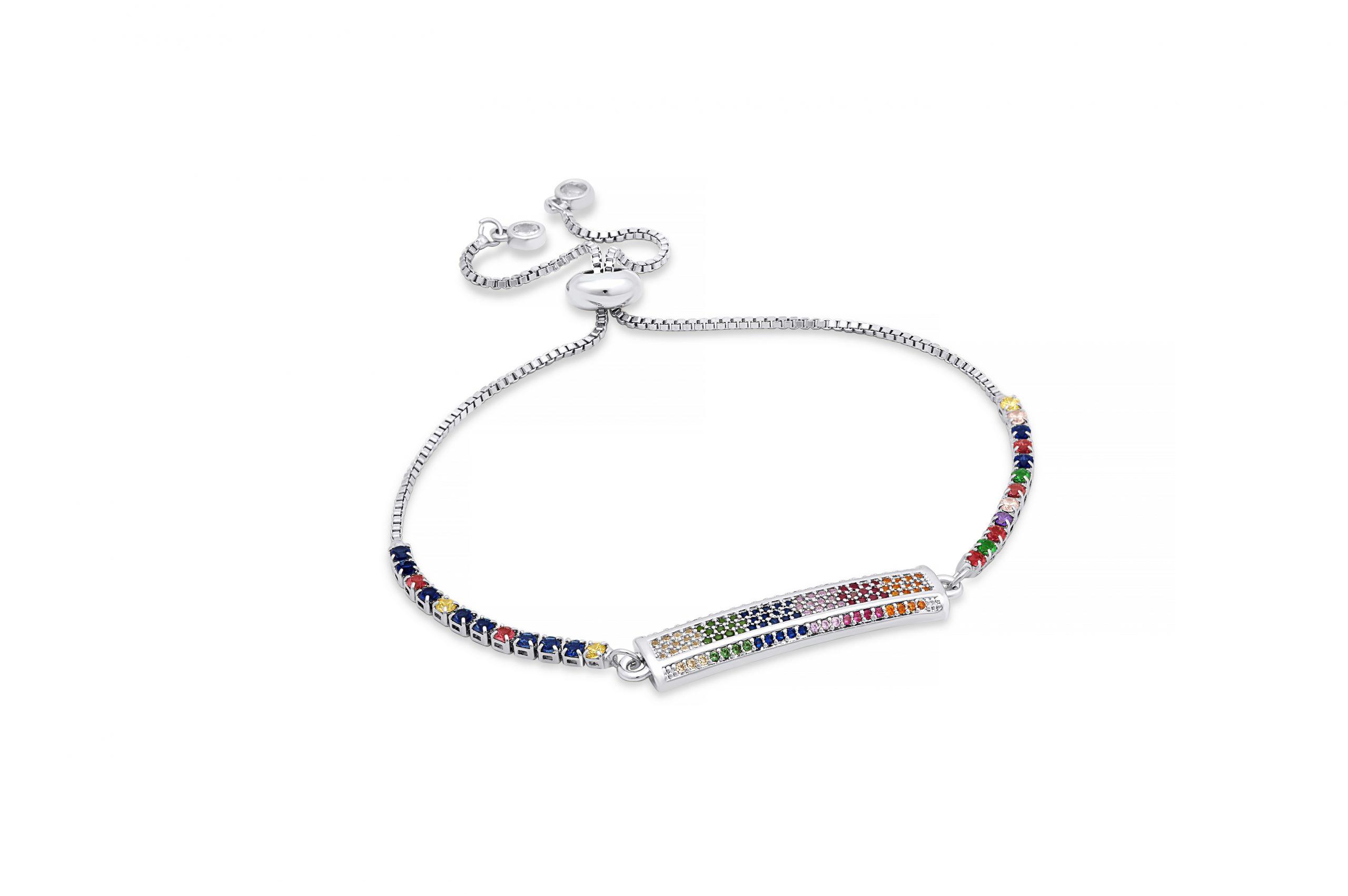 Silver Rainbow Motley Bracelet