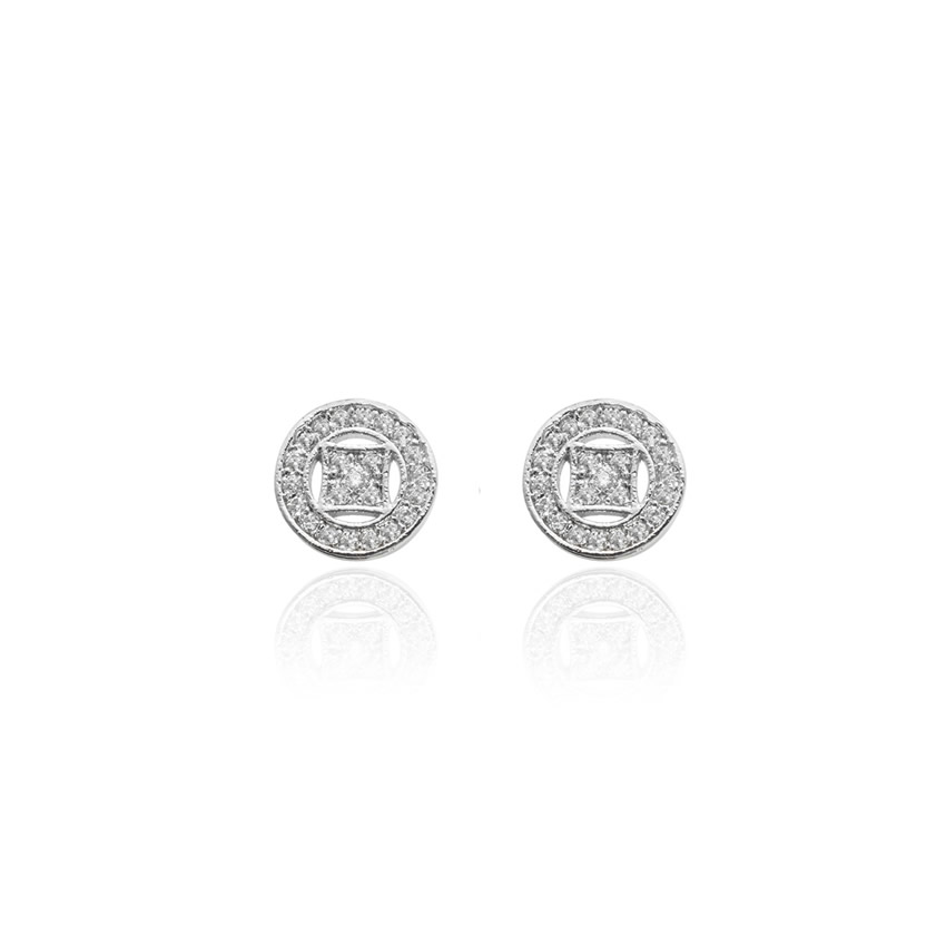 Silver Pave Art Deco Disc Earrings