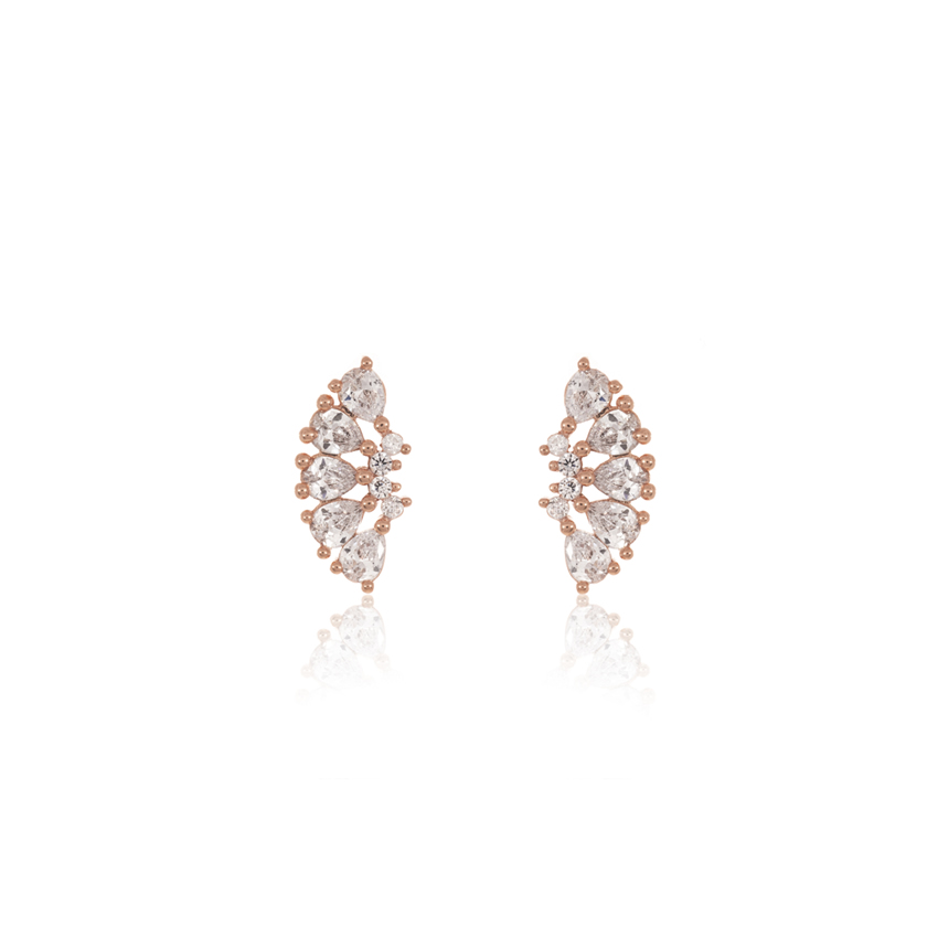 Rose Gold Wonderlust Crystal Curve Earrings