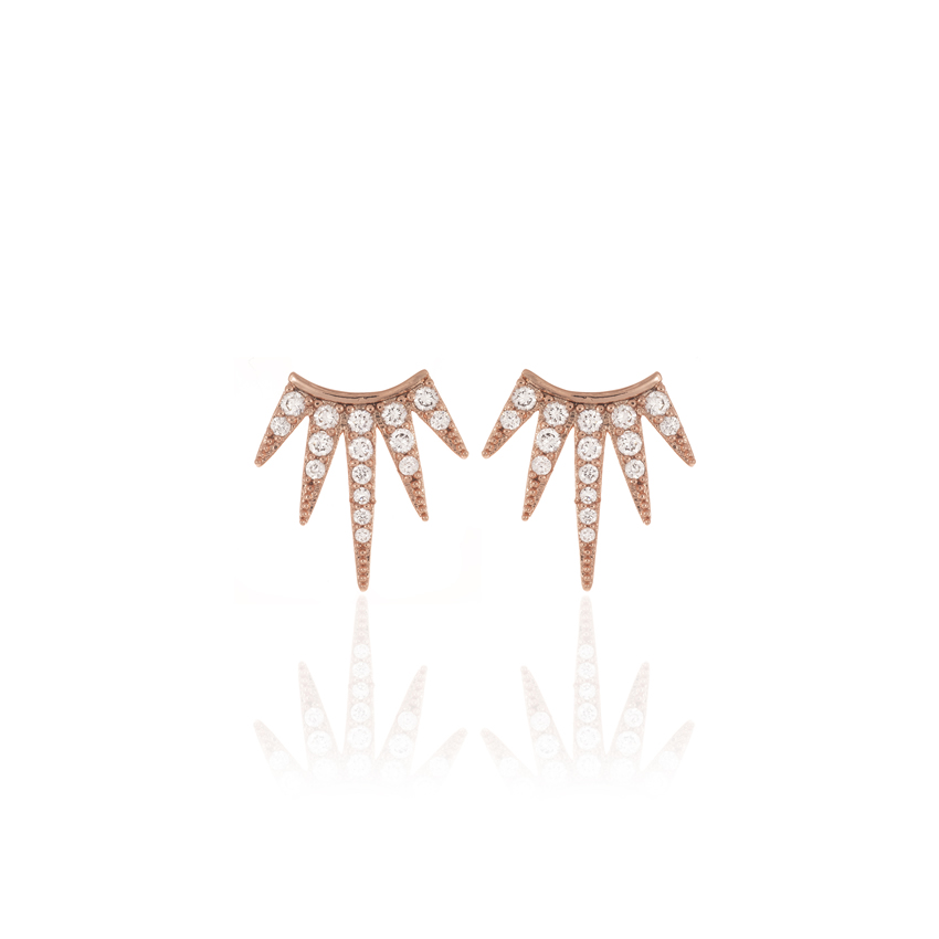 Rose Gold Wonderlust Half Star Earrings
