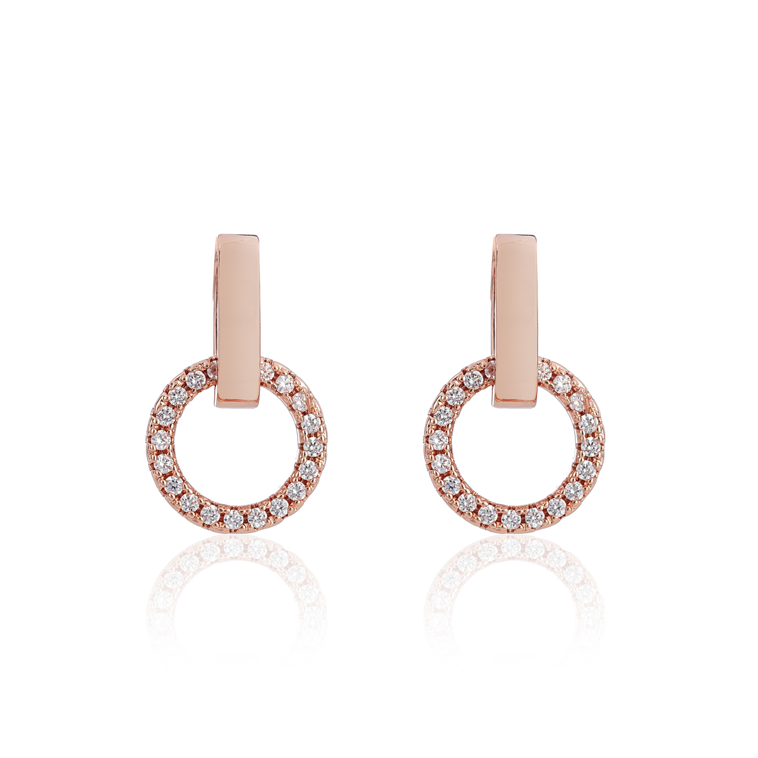 Rose Gold Halo Crystal Drop Earrings