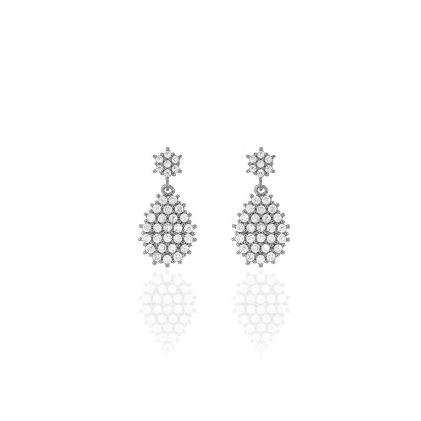 Silver Wonderlust Crystal Tear Drop Earrings