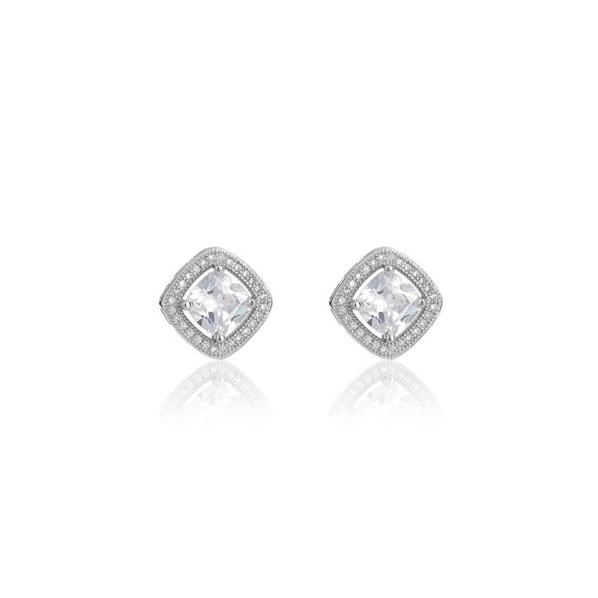 Silver Society Square Earrings