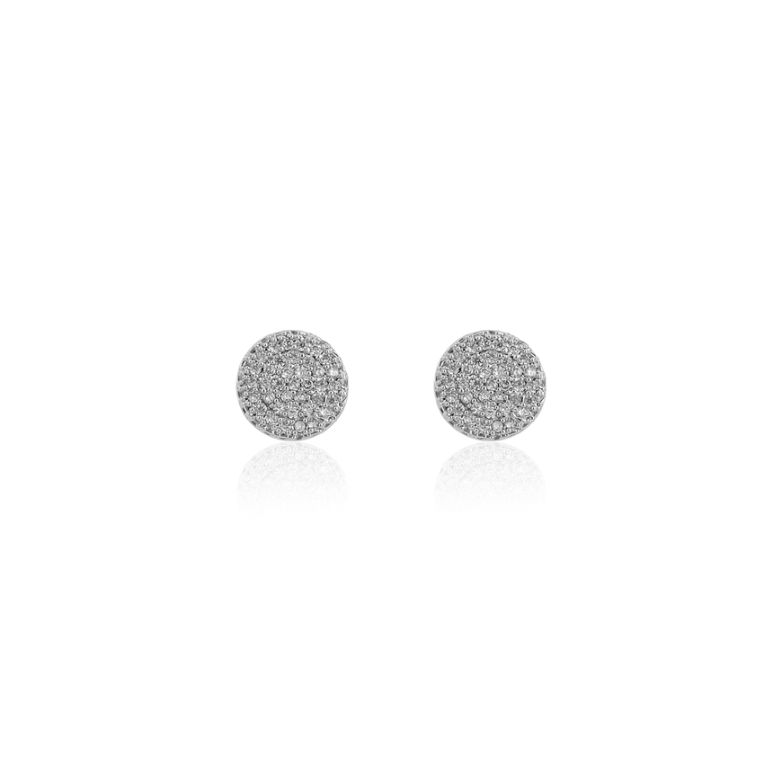 Pave Silver Vintage Circle Earrings
