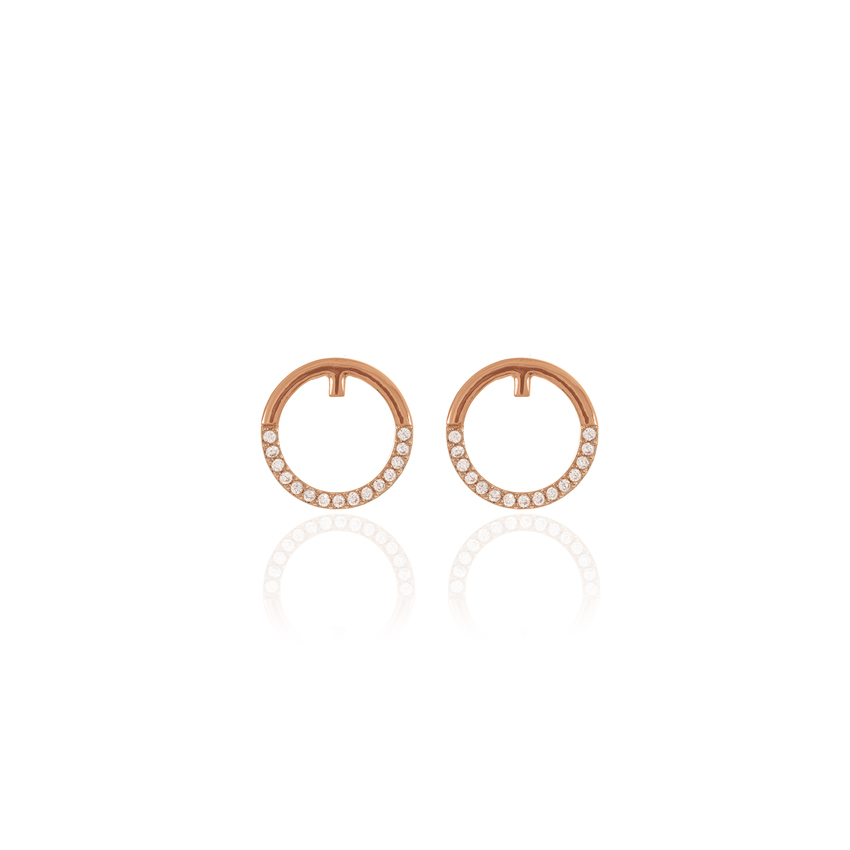 Rose Gold Pave Orbit Earrings