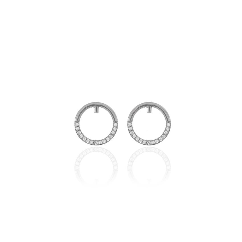 Silver Pave Orbit Earrings