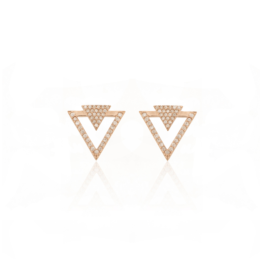 Rose Gold Deco Dart Earrings