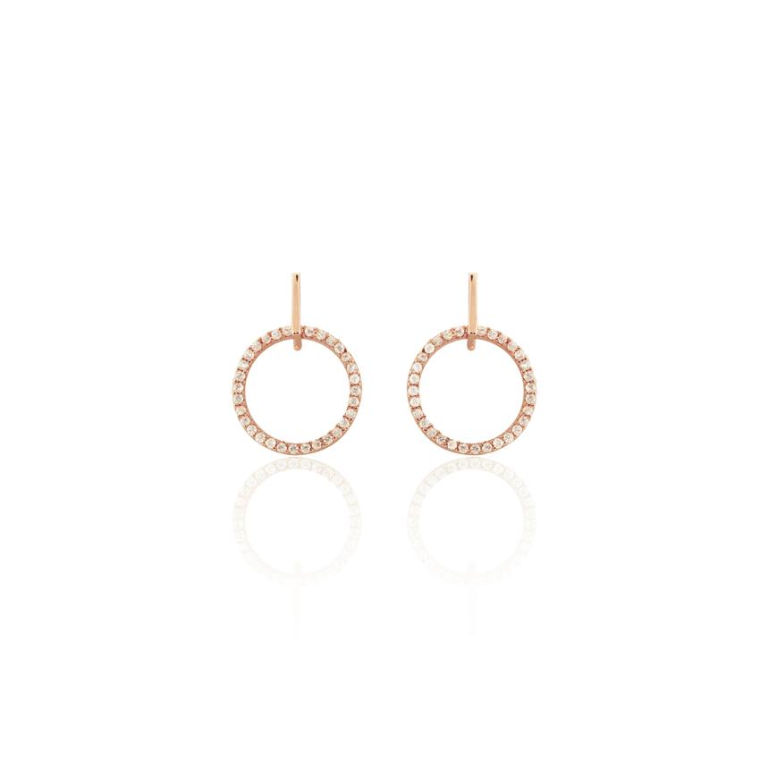 Rose Gold Pave Horizon Drop Earrings
