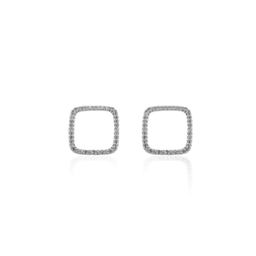 Silver Deco Square Earrings