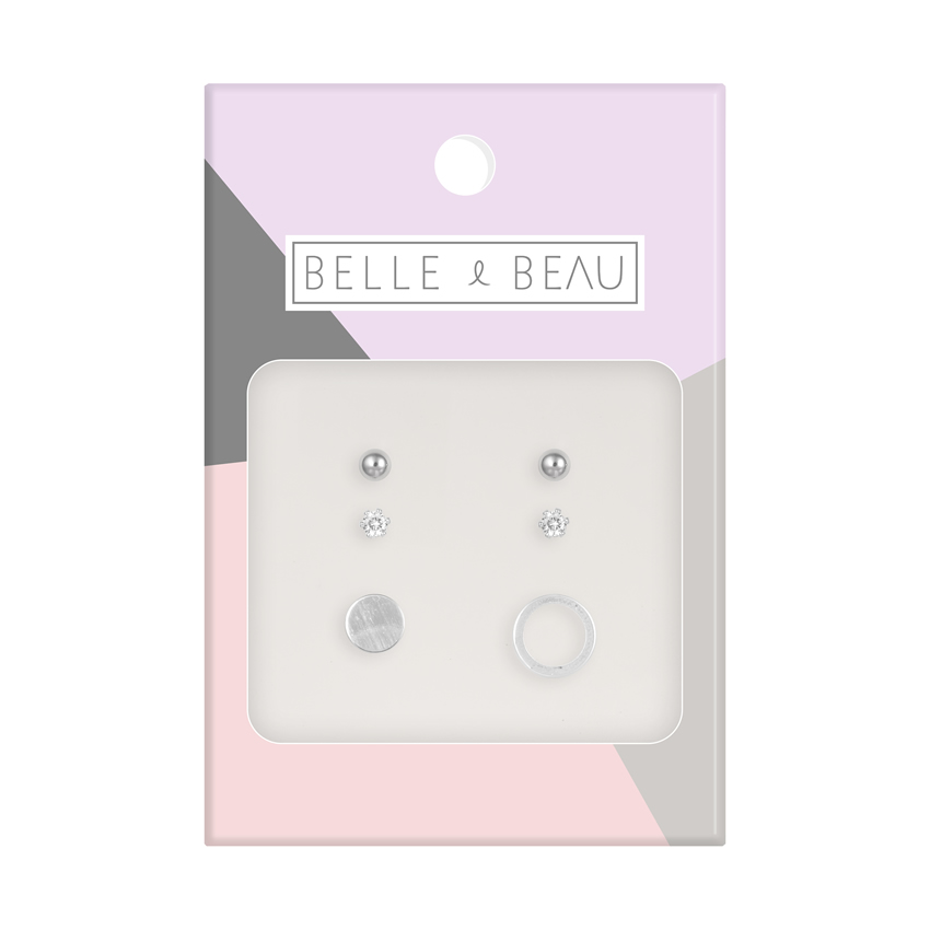 Silver Cocktail Circle Earring Set