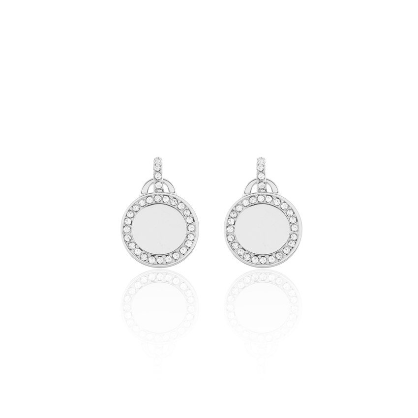 Silver Cameo Disc Drop Earrings