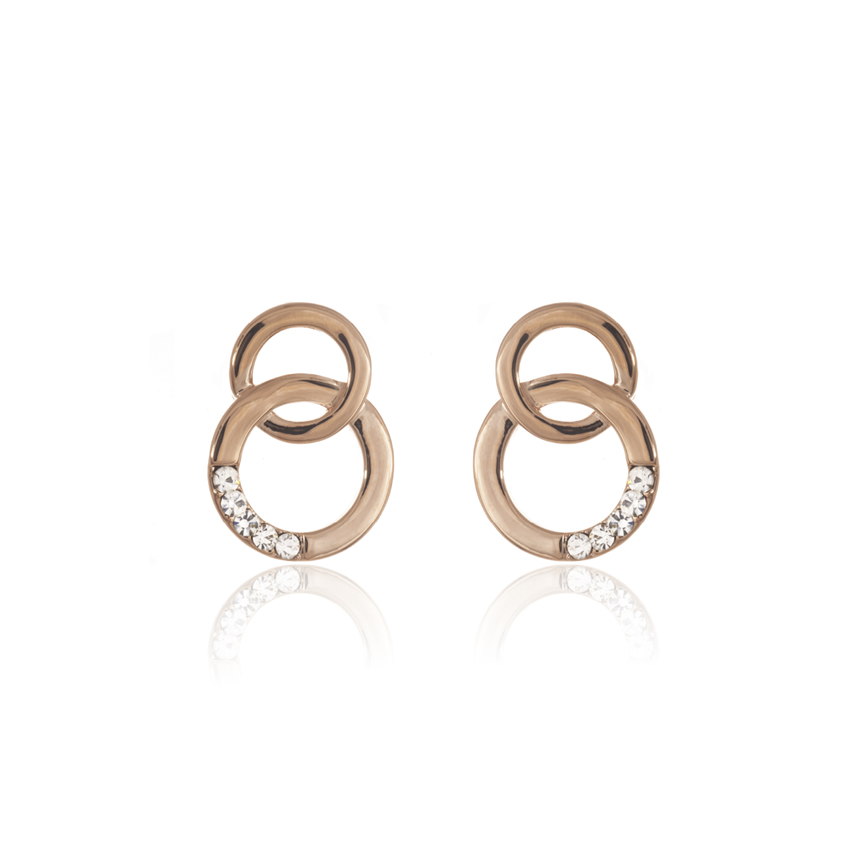Rose Gold Cameo Circle Link Earrings