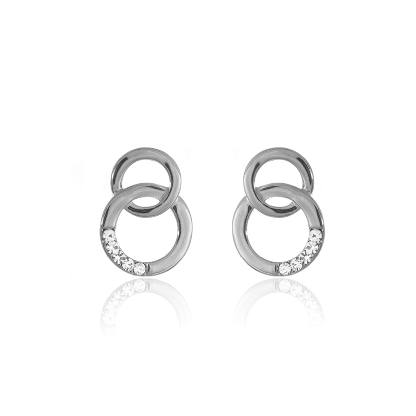 Silver Cameo Circle Link Earrings