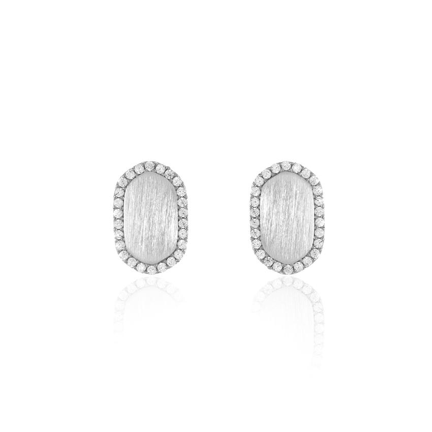 Silver Pave Dainty Oval Earrings
