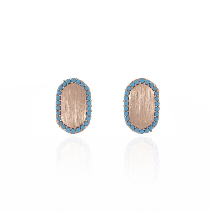 Rose Gold Riviera Dainty Oval Earrings