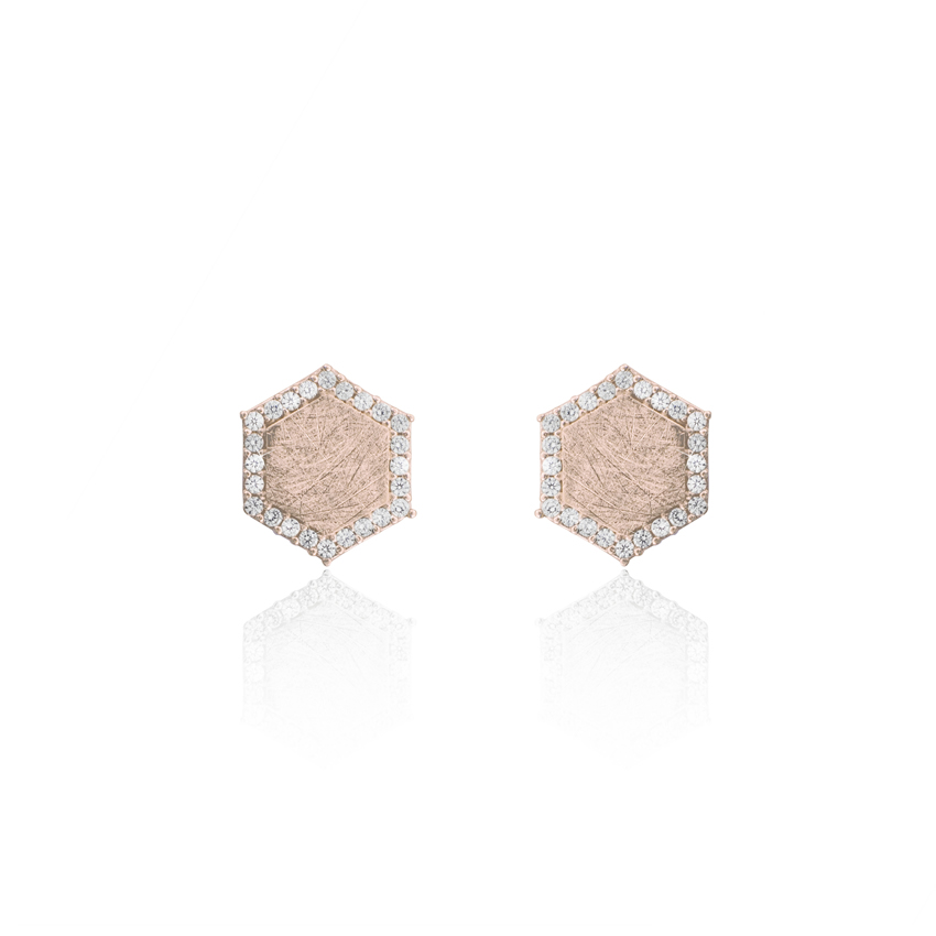 Rose Gold Ravenna Hexagon Earrings