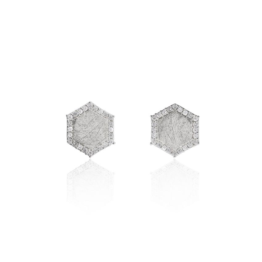 Silver Ravenna Hexagon Earrings