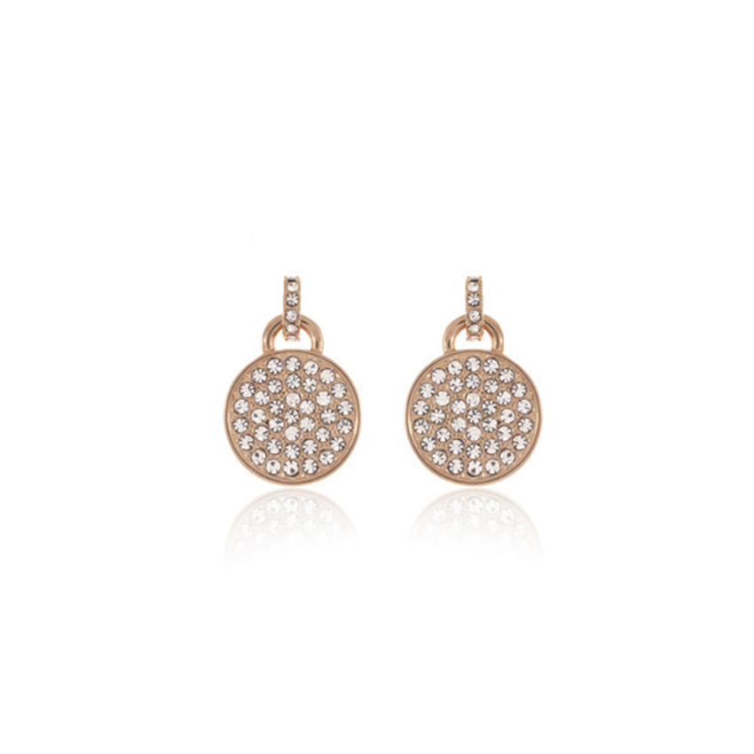 Rose Gold Cameo Pave Disc Earrings