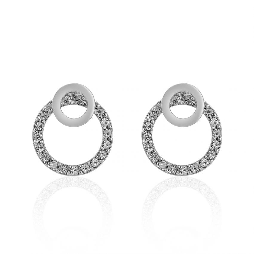 Cameo Silver Circle Earrings